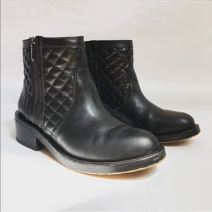 Sam Edelman | Black leather quilted ankle boots